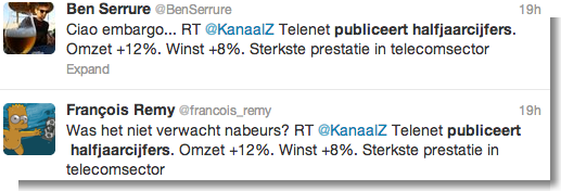 Kanaal Z tweet bedrijfsresultaten Telenet