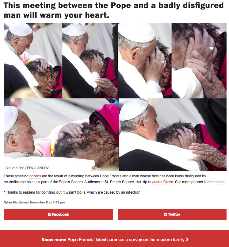 This meeting between the Pope and a badly disfigured man will warm your heart.