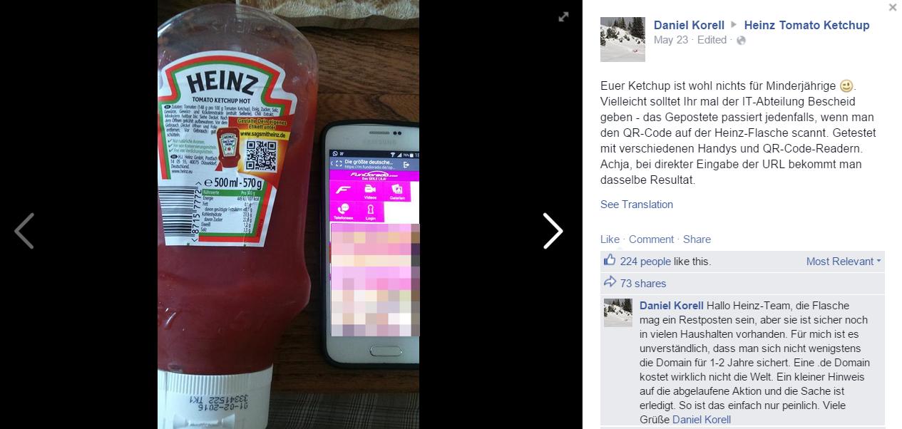 QR-code van Heinz Ketchup fles verwijst door naar porno-site