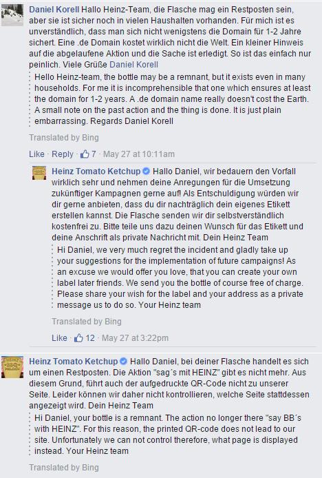 reactie van Heinz Duitsland op de genante QR-code