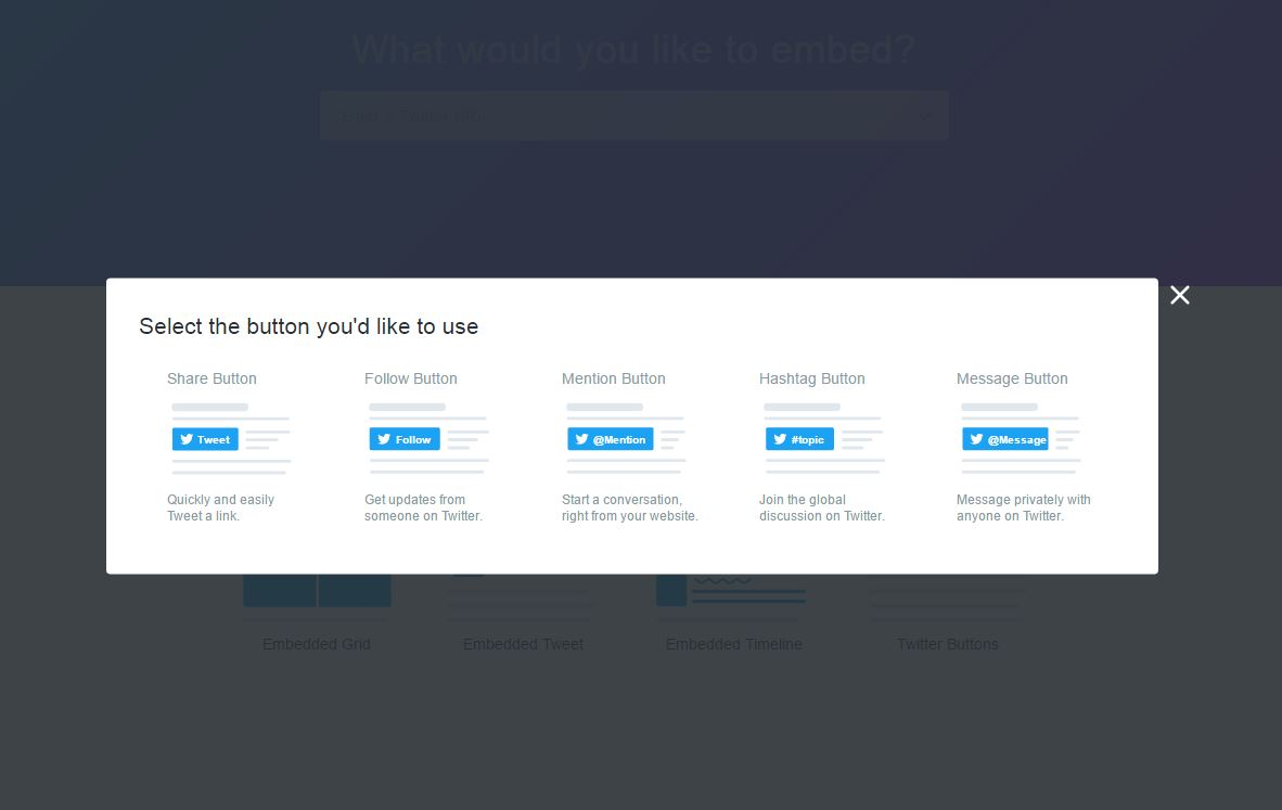 DM-button twitter integreren in ebsite